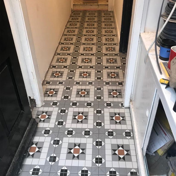 Newly tiled floor in hallway